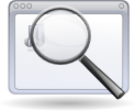 Image of magnifying glass in front of browser window.